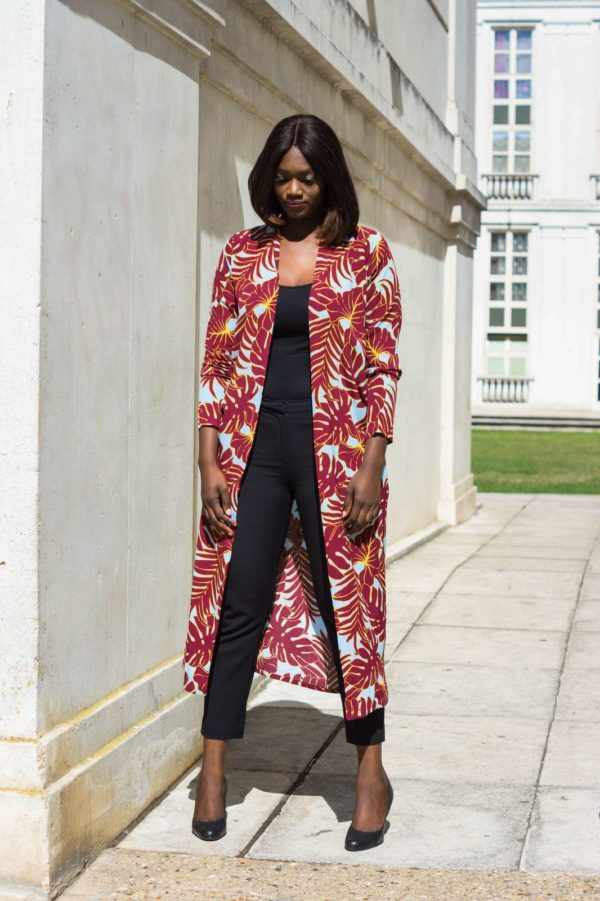 Niyaa paris JUA&co Kimono imprimé tropical rouge_3