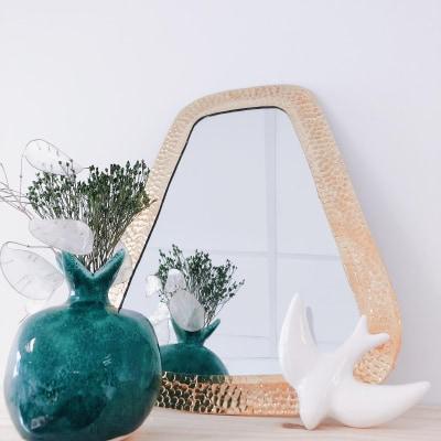 zine&lyne jua&co miroir en cuivre martelé trapèze