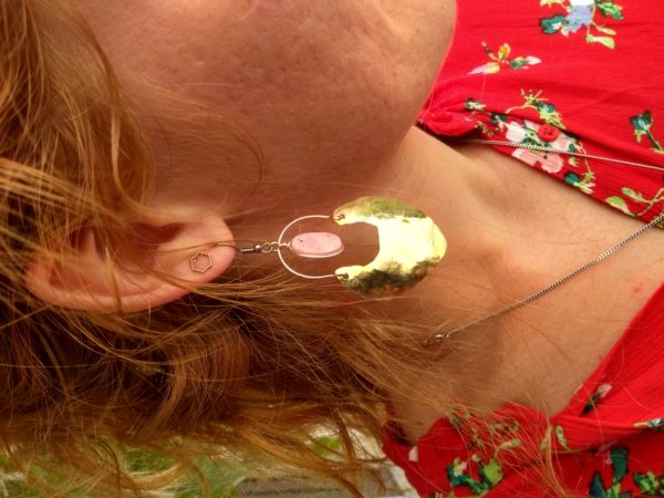 Boucles d'oreilles rhodonite la llama coqueta sur JUA&CO