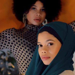 L'étoffe de Saba Hijab en Georgette de Soie Bleu Canard