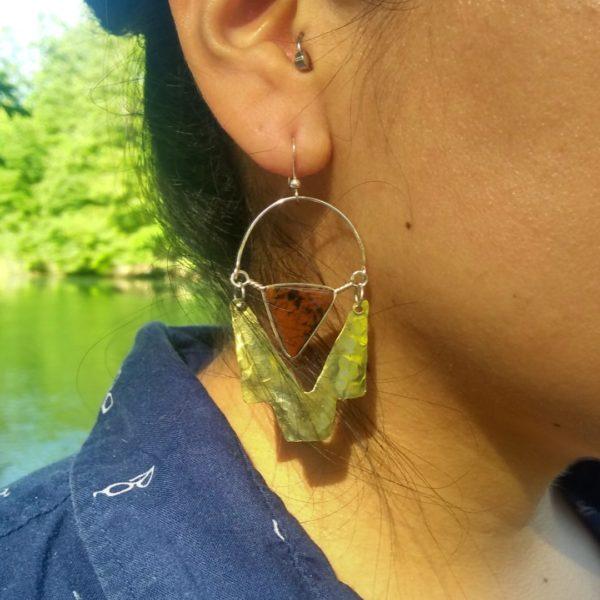 Boucles d'oreilles Oeil de tigre la llama coqueta sur JUA&CO
