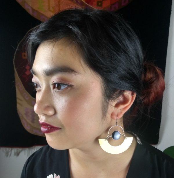 Boucles d'oreilles onyx noir la llama coqueta sur JUA&CO