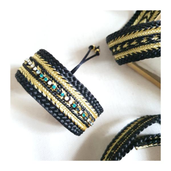 "Bracelet Noir Or et Swarovski ""EMYRA"" sur JUA&CO"