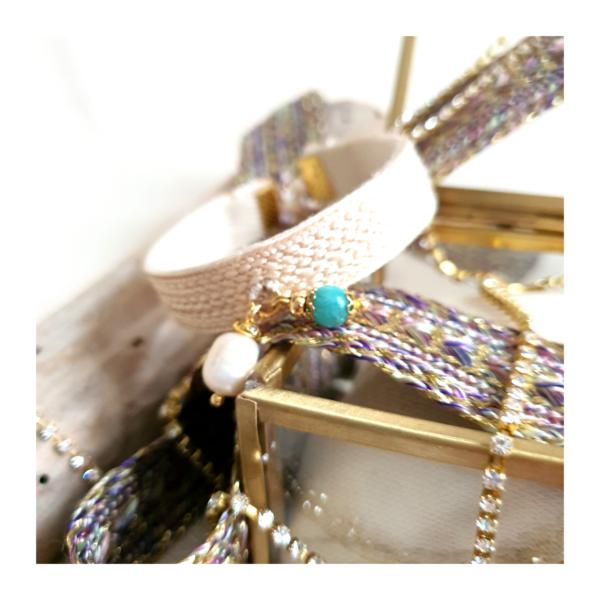 Bracelet écru Amazonite et perle ZAHRINA sur JUA&CO