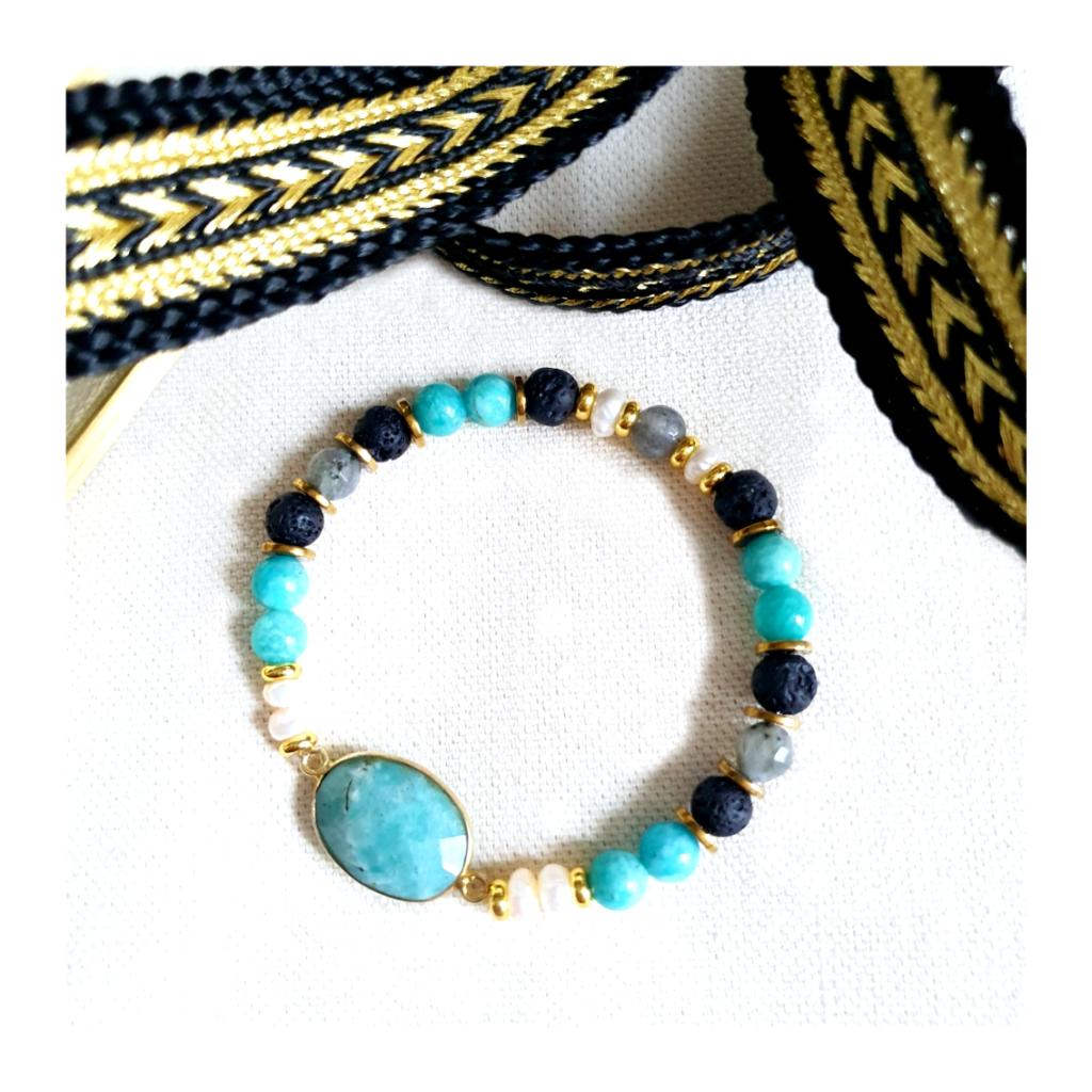 """Bracelet Amazonite Labradorite """"Perles de Fée"""" sur JUA&CO 1"""