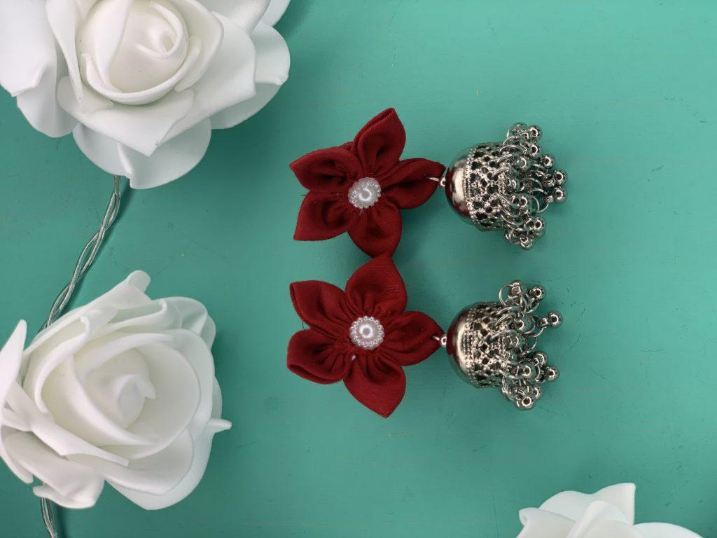 Jhumka tissu avec fleurs rouge pic#5 sur JUA&CO