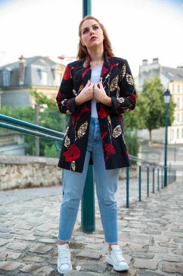 Veste-blazer-wax-rouge-et-noir_sur JUA&CO