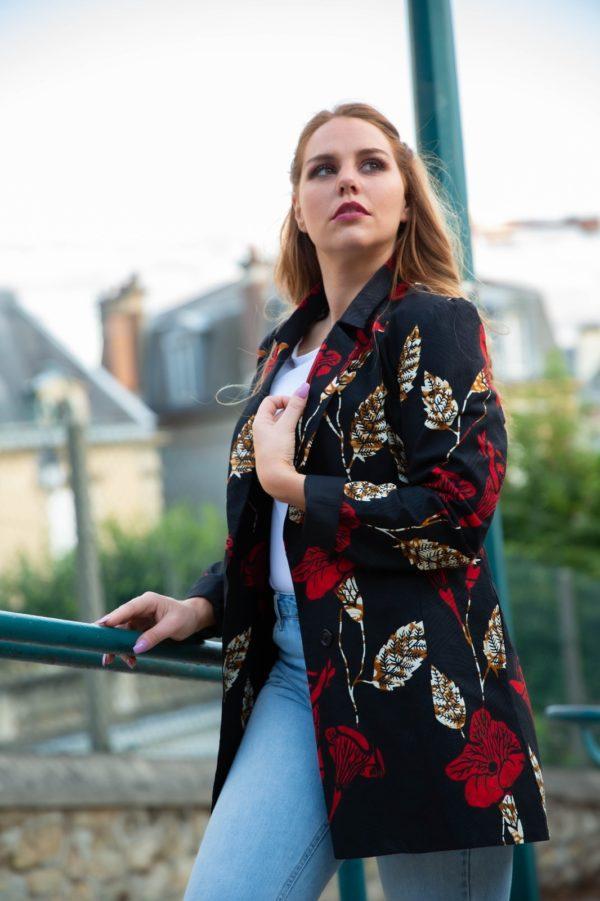 Veste-blazer-wax-rouge-et-noir_sur JUA&CO 2