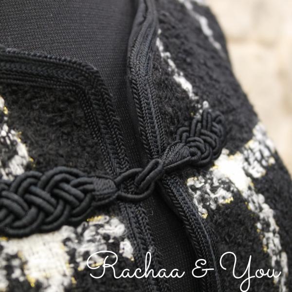 zoom manteau noir et blanc en laine rachaa&you sur JUA&CO