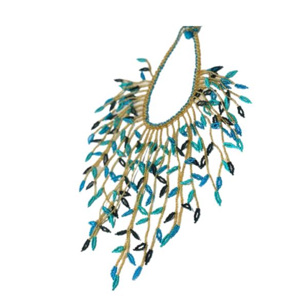 Collier Embera Chami Plume bleue t doré sur JUA&CO
