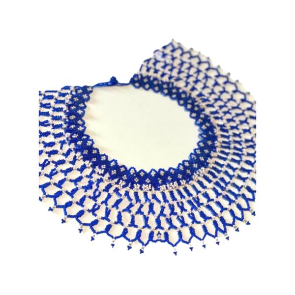 Grand collier bleu OKAMA Embera Chami sur JUA&CO