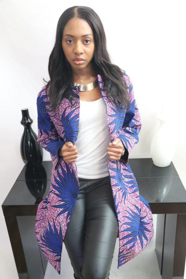 Veste bleu et rose wax coton